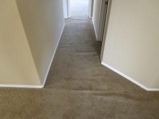Loose and buckled brown sculptured carpet in hallway before stretching carpet
