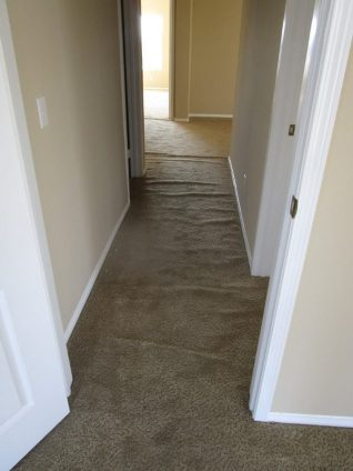 Loose and buckled brown sculptured carpet in hall before stretching carpet