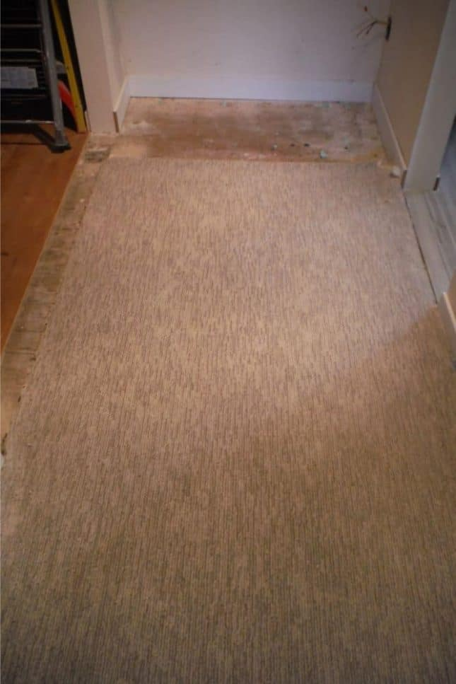 Gray berber carpet between closet and vanity before patching to fill voids