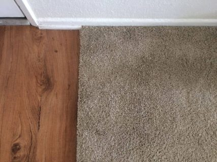 Pet damage light brown carpet at entry transition after patching